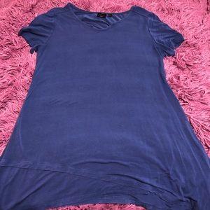 Blue top with asymmetrical hem